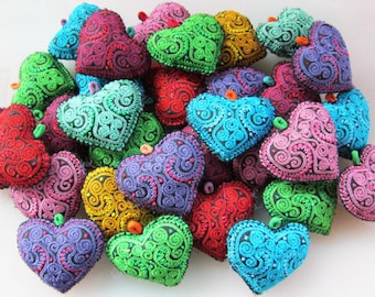 Embroidered Hearts Fabric Hearts Textile Hearts Stuffed Hearts Craft supplies Valentines Day, Heart Charm Needlecraft Supply 10pcs+