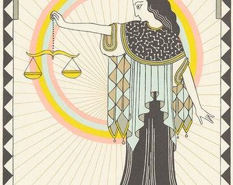 Libra astrology silkscreen horoscope art