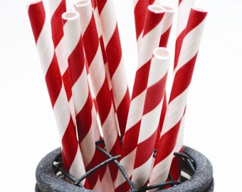 50 Ruby Red Paper Straws - Perfect for Parties - Favors--Free Editable DIY Tags PDF