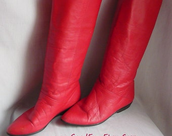 Vintage RED Leather Pixie Boots / Size 7 .5 M Eu 38 Uk 5 / Slouchy Pirate Wide Leg Flat Cuff / 1980s Made Brazil