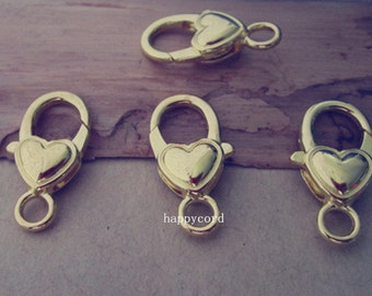 10pcs gold color Love Heart Lobster Clasps 12mmx27mm