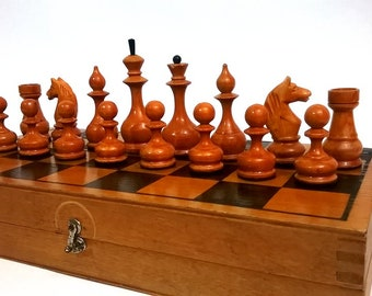 Soviet wooden chess, 1970.