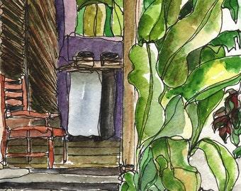Art PRINT Tropical Cottage Porch Veranda Watercolor