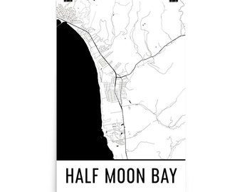 Half Moon Bay CA Map, Half Moon Bay Art, Half Moon Bay Print, Half Moon Bay Poster, Half Moon Bay Wall Art, Print, Art, Gift, Poster, Decor