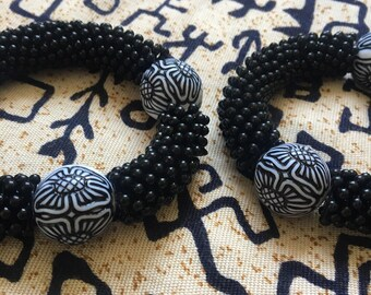 Black and White Beaded African Influenced Bracelets