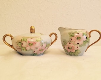 Vintage 1970 Hand Painted Sugar Bowl and Creamer Set