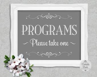 Grey Printable Programs Sign, Wedding, Special Event (#PM11Y)