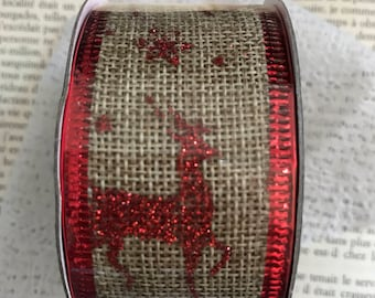 Christmas linen/red glitter Ribbon