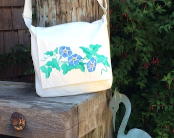Morning glories, dragonfly, handpainted on light cotton canvas messenger bag,  crossbody or shoulder bag, adjustable strap.