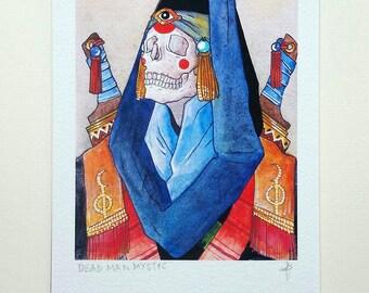 Dead Man Mystic - A5 dye based Art Print with Skull - Inspired by folk, warrior, fantasy art, horror, macabre