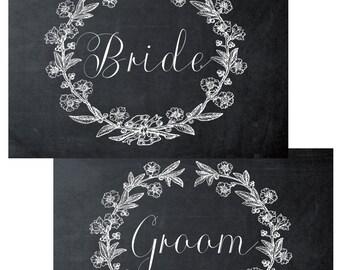 """printable Bride & Groom signs,  chalkboard wedding signs, chalkboard Bride Groom signs, digital wedding signs,7"""" x 5"""", bride groom signs"""