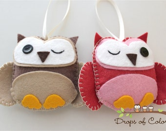 Two Owl Plush Toy, Felt Owls Ornaments- Owls in LOVE for Weddings, Baby Shower Favor or Toy - Felt Plush Couple Owls in Love