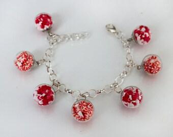 Peppermint Candy Charm Bracelet - Bubble Glass Jewelry - Kawaii Bracelet - Miniature Food Bracelet - Food Jewelry - Christmas Candy Jewelry