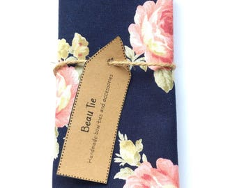 Mens pocket square, navy blue pocket square, floral pocket square, pink pocket square, wedding pocket square, mens handkerchief