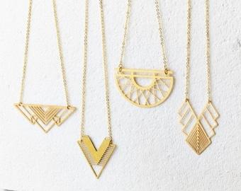 Sale Gold Geometric Necklace - Minimalist Necklace, Modern Geometric Jewellery, Gold Necklace, Geometric Necklace, Minimalist Jewellery,