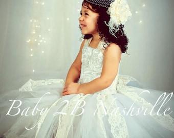 White Flower Girl Dress Satin Rosette Flower Girl Dress Wedding Flower Girl Dress  Baby to Girls 10