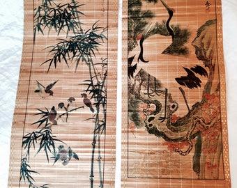 Bamboo wall art | Asian wall covering | Vintage wall deco