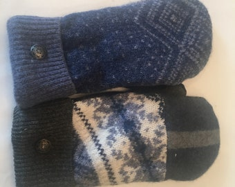 Wool Mittens made from up cycled wool sweaters