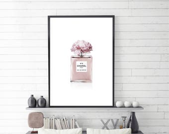 Chanel Perfume, Coco Chanel, Perfume Art, Blush Perfume, Illustration, Large size, Digital Download, Fashion Poster, Blush Pink, Peony Print