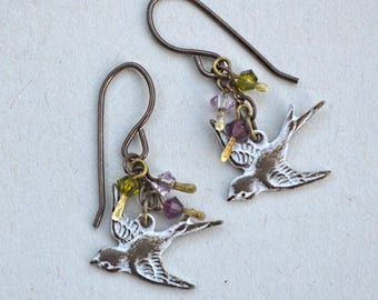First Frost, Earrings of Swarovski Crystal and Brass with White Patina