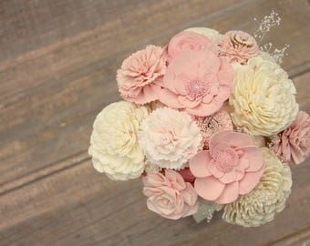 Sola flower bouquet, brides wedding bouquet, dusty rose pink, wooden flowers, blush wedding flowers, eco flowers, mauve wedding