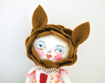 Cloth and clay art doll display hand painted