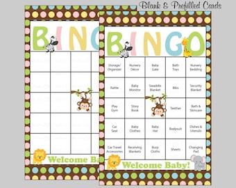 60 Safari Baby Shower Bingo Cards - Prefilled Bingo Cards - Boy Girl Baby Shower Game - Jungle Polka Dots - Download - B5001