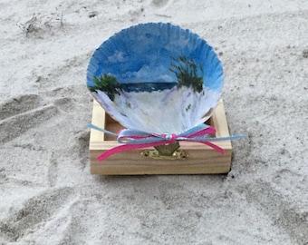 Shell, Beach, Beach scene, landscape, Ocean, Beach decor, Miniature art, Sand