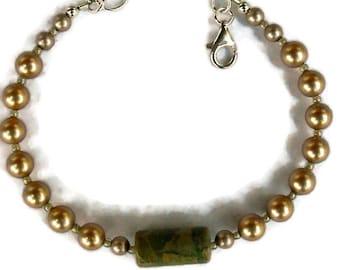 Seaweed Jasper and Swarovski Pearl Bracelet