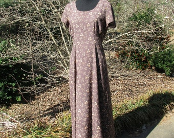 Vintage Dress, BOHO FLORAL GRUNGE Print Rayon Midi/Maxi, 90s does 30s, Button Down in Back! soft taupe brown, feminine grunge hippie gypsy