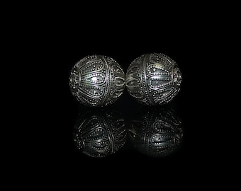 Sterling Silver Beads, Two 20mm Sterling Silver Granulation Bead, Bali Beads, Silver Bead, 18mm Bali Bead, Sterling Silver Bali Bead, Beads