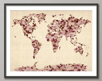 World map as a tube metro subway system art print 596 love hearts map of the world map art print 899 gumiabroncs Choice Image