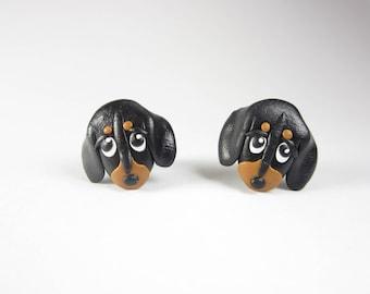 Dachshund Earrings, Dachshund jewelry, stud, Dachshund gift, animal, Weiner dog, Cute dog earrings, dog lover gift polymer clay doxie black