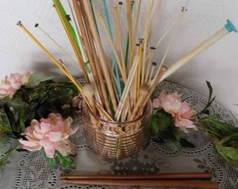 Mixed Lot Vntg. Knitting and Crochet Hooks/Needles: Plastic, Wood, Various Szs. Repurpose, Upcycle, ReUse