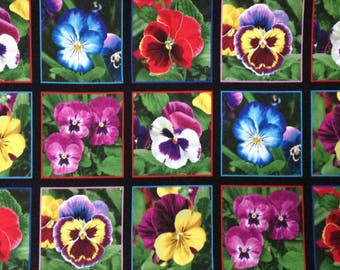 """Pansy cotton panel -- approximately 23"""" x 44"""""""
