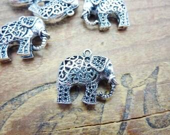Charm Silver Filigree Elephant Charm Silver Charm Medium Sized Elephant Charm (1)