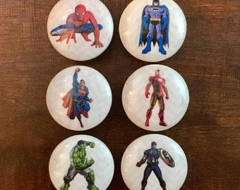 1.5 inch,superhero knob,cabinet knobs, drawer pulls, EACH KNOB sold separately, batman superman ironman hulk spiderman captain America white