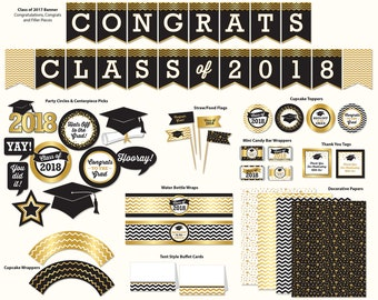 Graduation Party, Printable, Gold Tones & Black, Class of 2018, Banner, Cupcake Toppers, Tags and More