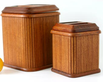 RARE Danish Modern Teak Canisters   Set Of 2 By Kalmar Designs   Tambour  Style Wood