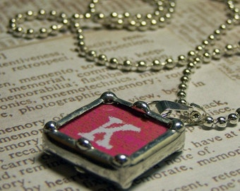 Initial Charm, Soldered Glass Pendant, Letter k, inspirational, graduation gift, personalized, Made to order