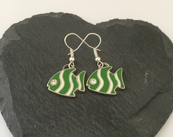 Green fish earrings / fish jewellery / beach jewellery / sea life jewellery / animal lover gift