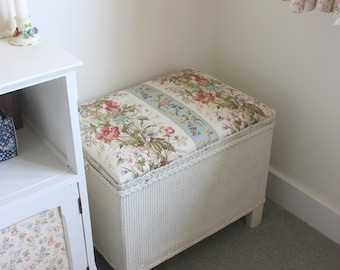 Vintage Lloyd Loom linen basket with vintage floral fabric