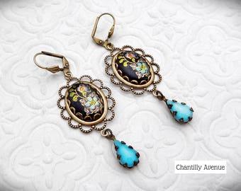 Turquoise Flower Cabochon Earrings, Vintage Style Jewelry Handmade Victorian Earrings Cameo Rhinestone Drop Victorian Jewelry