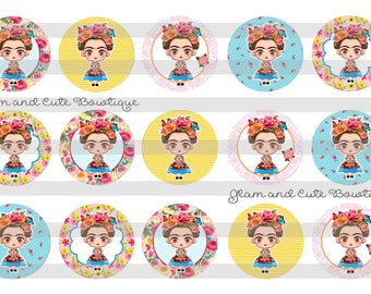 "Frida Kahlo with Roses INSTANT DOWNLOAD Bottle Cap Images 4x6 sheet 1"" circles"