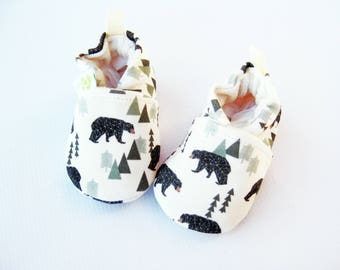 Organic Knits Vegan Bear Forest Mint/ All Fabric Soft Sole Baby Shoes / Made to Order