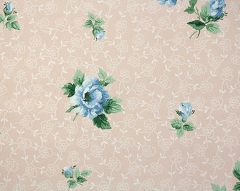 1950s Vintage Wallpaper by the Yard - Blue Roses on Pink Floral Wallpaper