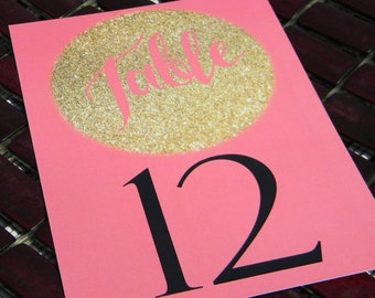 Table Number, Wedding Table Numbers, Reception, Wedding, Gold Glitter, Gold Glitter Effect table numbers, Coral and Gold