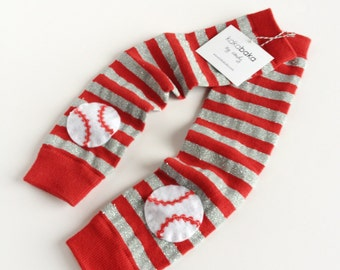 Red and Silver Sparkly Baseball Leg Warmers Cardinal Baseball