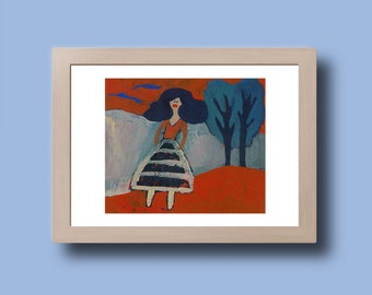 Reproduction of a painting of a stylized woman - print on photo paper - photographic print artwork
