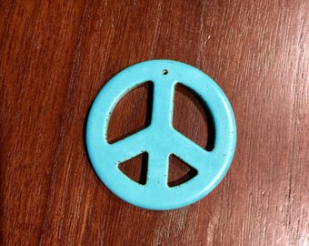 Large Turquoise Peace Sign